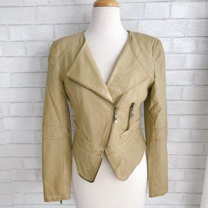 Tan Faux Leather Moto Jacket One Community Small